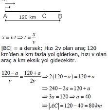 Hareket Problemleri Çözümlü Soruları Test 1